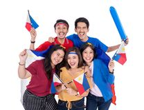 Z podnieceniem azjatykci m?ody zwolennik trzyma Philippines flag? fotografia royalty free