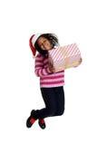 Z podnieceniem czarna dziewczyna przy bożymi narodzeniami Zdjęcia Royalty Free