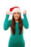 z podnieceniem dziewczyny kapeluszowy Santa target1405_0_ Fotografia Royalty Free