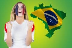 Z podnieceniem France fan w twarzy farby dopingu Zdjęcia Royalty Free
