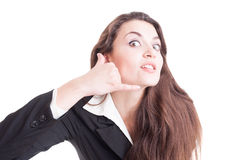 Z podnieceniem i entuzjastyczna biznesowa kontaktowa osoba lub kobieta Zdjęcie Royalty Free