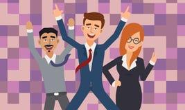 Z podnieceniem i Szczęśliwi ludzie biznesu z Nastroszonymi rękami royalty ilustracja