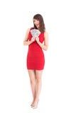 Z podnieceniem kobiety mienia amerykanina dolary Zdjęcia Stock
