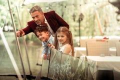 Z podnieceniem syn, śliczna córka patrzeje kaczki w jeziorze z ojcem i obrazy royalty free