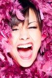 z podnieceniem szczęśliwa kobieta fotografia stock