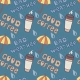 Zła pogoda & dobra kawa ilustracja wektor
