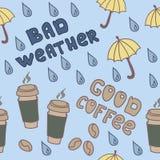Zła pogoda & dobra kawa ilustracji