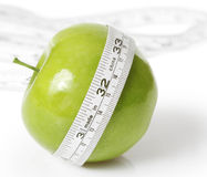 Z pomiarem zielony jabłko Obraz Royalty Free