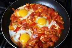 Z pomidorami rozdrapani jajka Obraz Stock