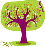 Z ptakiem dekoracyjny drzewo Obraz Stock
