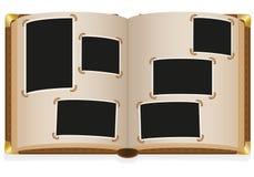 Z pustymi fotografiami stary otwarty album fotograficzny Obrazy Stock
