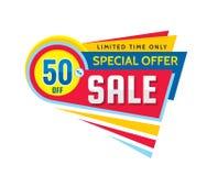 50% z rabata - kreatywnie wektorowa sztandar ilustracja Abstrakcjonistyczny sprzedaży promoci pojęcia układ na białym tle Specjal Royalty Ilustracja