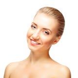 Z ramię nagimi uśmiechami piękna młoda kobieta Obraz Royalty Free