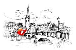 Zürich, Fraumünster church and bridge Royalty Free Stock Photos