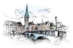 Zürich, Fraumünster church and bridge Royalty Free Stock Image