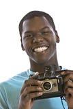 Z rocznik kamerą przystojny młody murzyn obraz stock