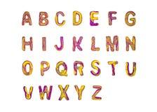 A-Z roxo amarelo do alfabeto do plasticine fotos de stock royalty free