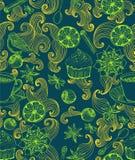 Z rozmyślającym ciepłym winem doodle bezszwowy tło Fotografia Stock