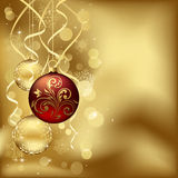 Z rozmytymi światłami bożenarodzeniowi baubles Zdjęcie Stock