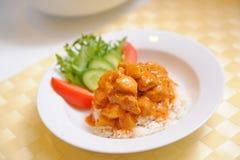 Z ryż Curry'ego żółty Kurczak - tajlandzki jedzenie Zdjęcia Stock