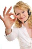 Z słuchawki blondynki biznesowa kobieta obraz royalty free
