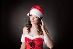Z słuchawki Santa dziewczyna fotografia stock