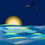 Z seagulls urzekający zmierzch Fotografia Stock