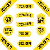 70% z sprzedaży etykietki grafika zdjęcie royalty free