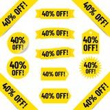 40% Z sprzedaży etykietki ilustracj obrazy royalty free