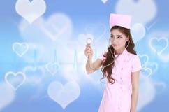 Z stetoskopem żeńska pielęgniarka Zdjęcie Royalty Free