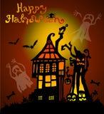 Z strasznym domem halloweenowy tło Fotografia Stock