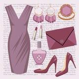 Z suknią moda set ilustracji