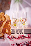 Z szampanem dwa ślubnego szkła Fotografia Stock