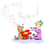 Z szczeniaka prezentem szczęśliwy dzieciak Zdjęcie Stock