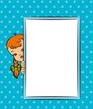 Z sztandarem kreskówki mała dziewczynka Fotografia Royalty Free