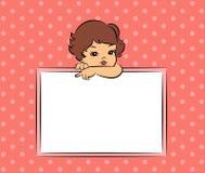 Z sztandarem kreskówki mała dziewczynka Obrazy Royalty Free