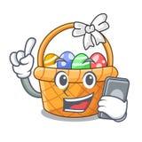 Z telefonu Easter koszykową piłką w kreskówka kształcie ilustracji
