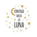 Z tobą do księżyc Pisać list miłość zwrot dla twój projekta z złotem gra główna rolę w Hiszpańskim języku Obraz Stock