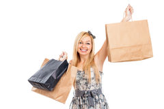 Z torba na zakupy atrakcyjna uśmiechnięta kobieta Zdjęcia Stock