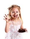 Z tortem śmieszna mała dziewczynka Obraz Royalty Free