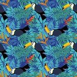 Z tropikalnymi liść bezszwowy wzór Zdjęcie Stock