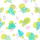 Z tropikalnymi liść bezszwowy wzór wektor Obrazy Stock