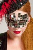 z włosami długa maskowa kobieta Obraz Stock