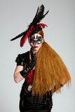 z włosami długa maskowa kobieta Zdjęcia Royalty Free