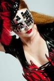 z włosami długa maskowa kobieta Zdjęcia Stock