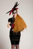 z włosami długa maskowa kobieta Zdjęcie Royalty Free