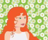 z włosami dziewczyny czerwień Obrazy Royalty Free