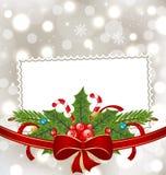 Z wakacyjną dekoracją bożenarodzeniowa elegancka karta Zdjęcie Stock