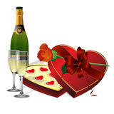 Z wakacyjnymi cukierkami, szampan i kwiat róże Fotografia Stock