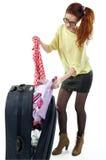 Z walizką. Zdjęcia Stock